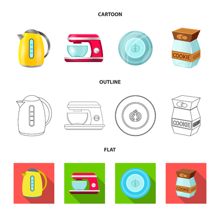 Isolated object of kitchen and cook sign. Set of kitchen and appliance stock vector illustration.