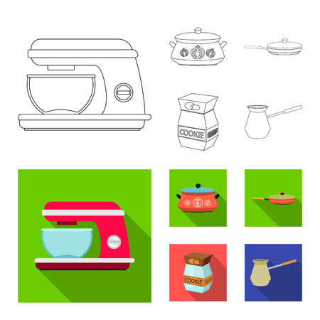 Vector design of kitchen and cook icon. Collection of kitchen and appliance stock symbol for web.