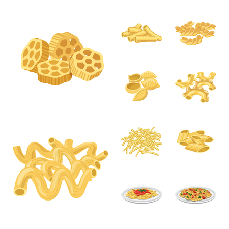 Vector design of pasta and carbohydrate logo. Collection of pasta and macaroni stock symbol for web.
