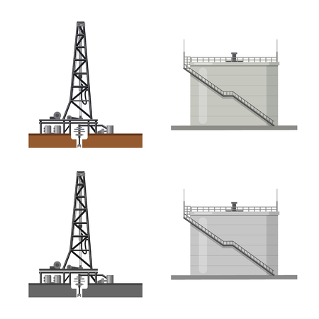 Vector design of oil and gas sign. Collection of oil and petrol stock symbol for web. Vektorové ilustrace