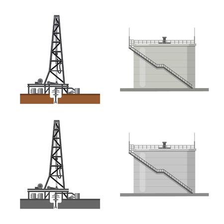 Vektordesign des Öl- und Gaszeichens. Sammlung von Öl- und Benzinvorratsymbol für Web. Vektorgrafik
