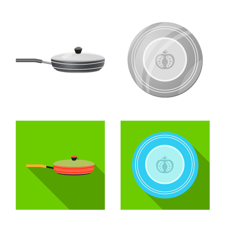 Isolated object of kitchen and cook symbol. Collection of kitchen and appliance stock symbol for web.