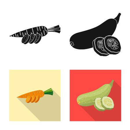 Vector illustration of vegetable and fruit icon. Set of vegetable and vegetarian vector icon for stock. Zdjęcie Seryjne - 110333357