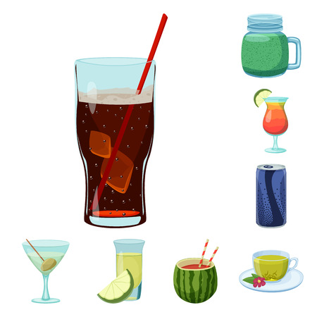 Vector illustration of drink and bar symbol. Collection of drink and party stock symbol for web.
