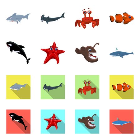 Vector design of sea and animal sign. Collection of sea and marine stock symbol for web. Vectores