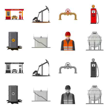 Vector illustration of oil and gas icon. Collection of oil and petrol stock symbol for web.