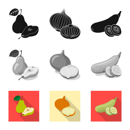 Isolated object of vegetable and fruit sign. Set of vegetable and vegetarian stock vector illustration.