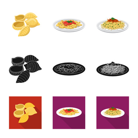 Vector illustration of pasta and carbohydrate sign. Set of pasta and macaroni vector icon for stock.