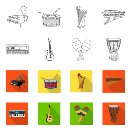 Isolated object of music and tune icon. Collection of music and tool vector icon for stock.