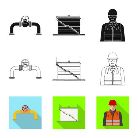 Ilustracja wektorowa znaku ropy i gazu. Zestaw oleju i benzyny wektor ikona na magazynie.