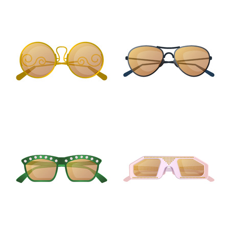 Vector illustration of glasses and sunglasses icon. Collection of glasses and accessory stock vector illustration.