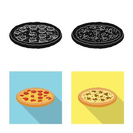 Vector design of pizza and food logo. Set of pizza and italy vector icon for stock. 일러스트