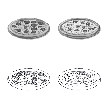 Isolated object of pizza and food icon. Collection of pizza and italy stock symbol for web. 일러스트