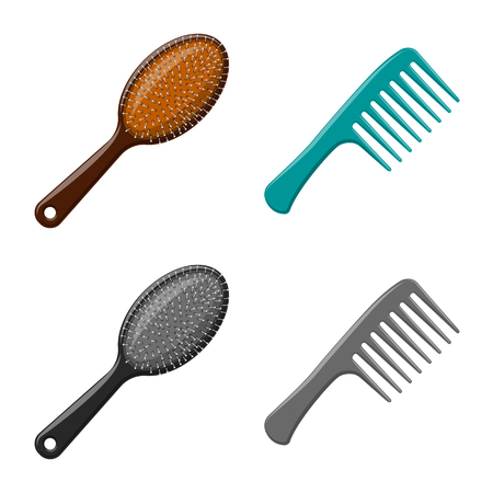 Vector illustration of brush and hair icon. Set of brush and hairbrush vector icon for stock. Illustration