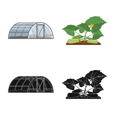 Isolated object of greenhouse and plant logo. Set of greenhouse and garden stock symbol for web. Zdjęcie Seryjne - 110482478