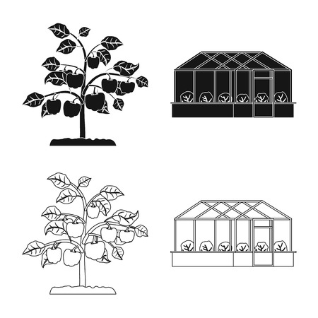 Vector design of greenhouse and plant sign. Set of greenhouse and garden vector icon for stock.