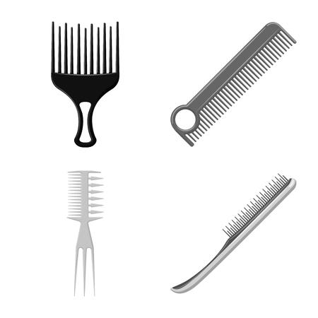 Vector design of brush and hair symbol. Collection of brush and hairbrush stock symbol for web.