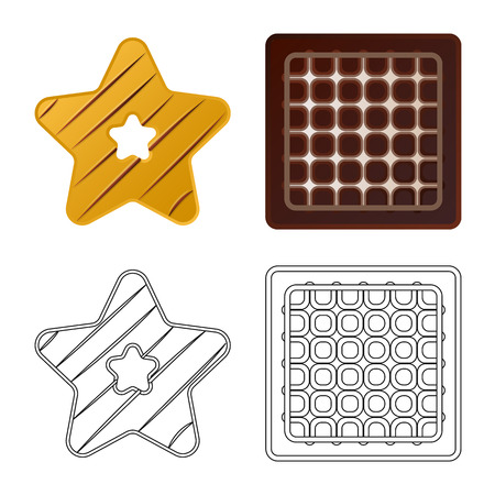 Isolated object of biscuit and bake symbol. Collection of biscuit and chocolate vector icon for stock. Иллюстрация