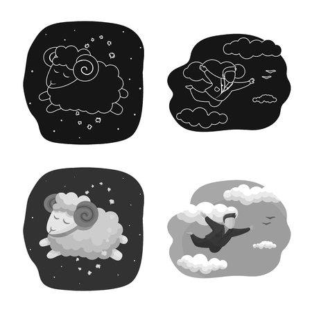 Vector illustration of dreams and night sign. Collection of dreams and bedroom stock symbol for web.  イラスト・ベクター素材