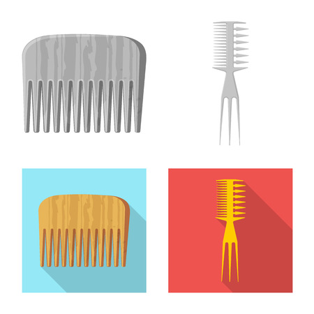 Vector design of brush and hair icon. Set of brush and hairbrush stock vector illustration.
