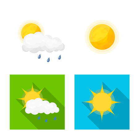 Vector design of weather and climate logo. Set of weather and cloud stock vector illustration. Illustration