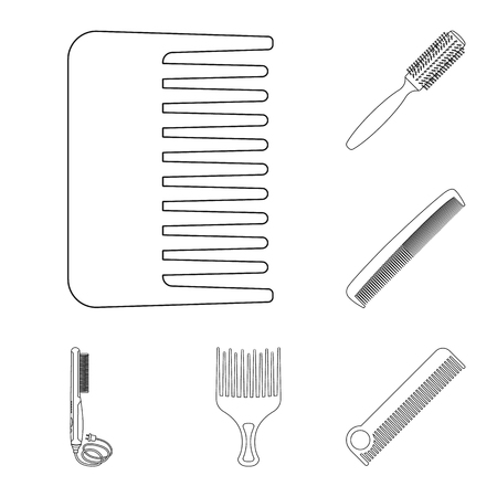 Isolated object of brush and hair icon. Collection of brush and hairbrush stock vector illustration.