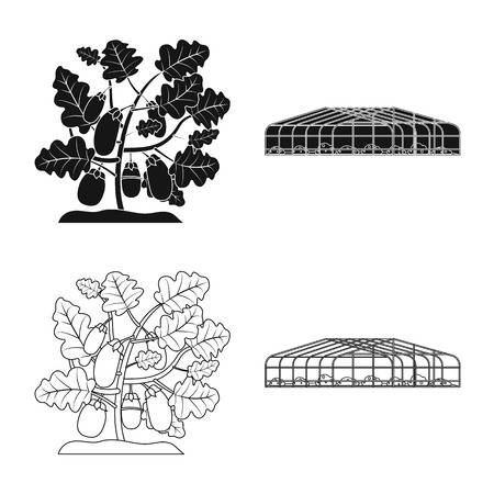 Vector design of greenhouse and plant logo. Collection of greenhouse and garden stock vector illustration. Stockfoto - 110486355