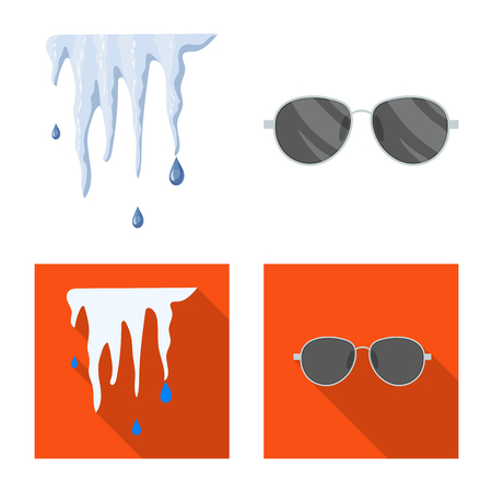 Vector illustration of weather and climate symbol. Set of weather and cloud stock vector illustration.