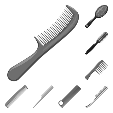 Vector design of brush and hair logo. Set of brush and hairbrush vector icon for stock.