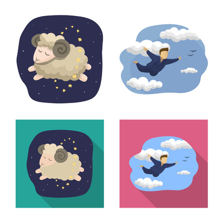 Vector design of dreams and night sign. Collection of dreams and bedroom stock vector illustration.