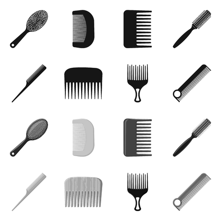 Isolated object of brush and hair symbol. Set of brush and hairbrush vector icon for stock.