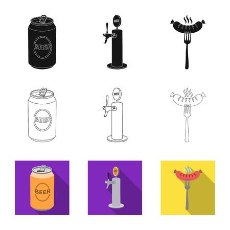 Vector illustration of pub and bar logo. Set of pub and interior stock vector illustration.