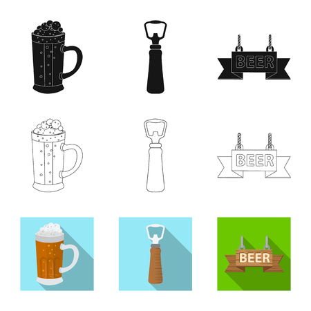 Vector illustration of pub and bar sign. Collection of pub and interior stock symbol for web.