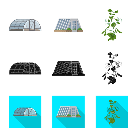 Isolated object of greenhouse and plant sign. Set of greenhouse and garden vector icon for stock.