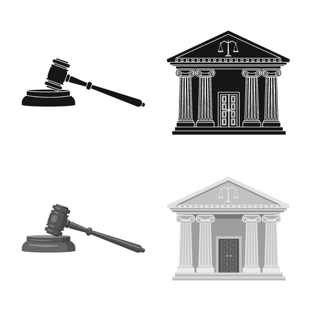 Vector illustration of law and lawyer icon. Set of law and justice stock vector illustration. Illustration