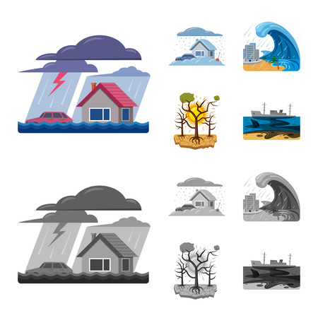 Vector illustration of natural and disaster icon. Collection of natural and risk stock symbol for web.