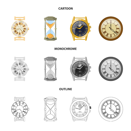 Isolated object of clock and time icon. Set of clock and circle vector icon for stock.