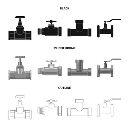 Objet isolé du logo du tuyau et du tube. Ensemble d'icônes vectorielles de tuyaux et de pipelines pour le stock.