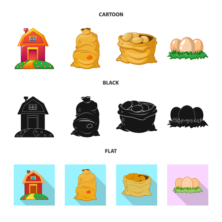 Isolated object of farm and agriculture icon. Collection of farm and plant stock vector illustration.