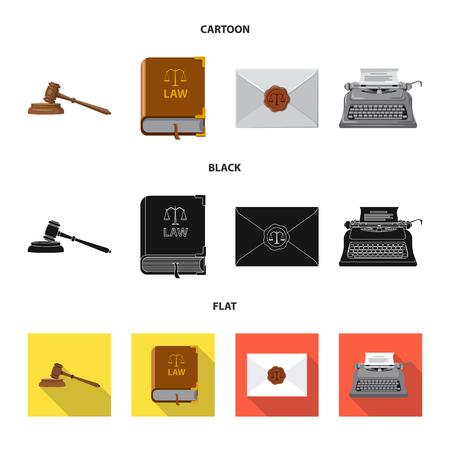 Illustration vectorielle du signe de la loi et de l'avocat. Collection d'illustration vectorielle stock droit et justice.
