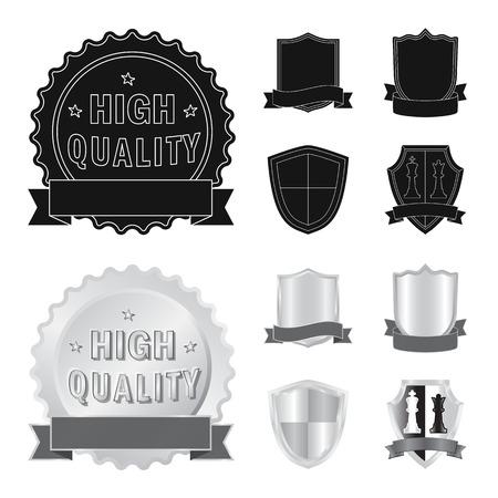 Vector design of emblem and badge logo. Collection of emblem and sticker stock symbol for web. Çizim