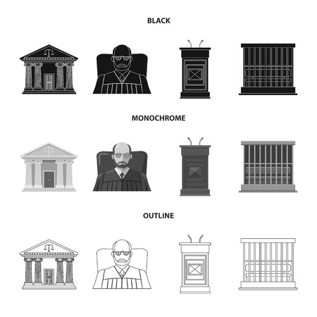 Vector illustration of law and lawyer logo. Collection of law and justice vector icon for stock.