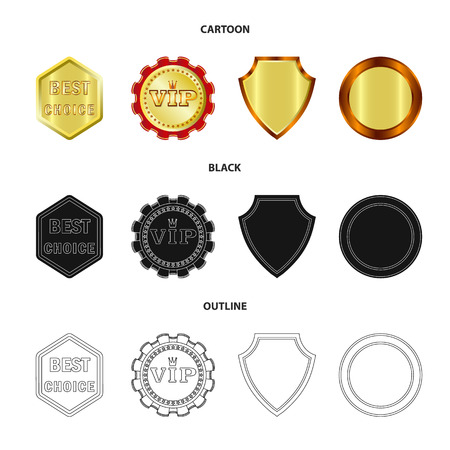 Vector illustration of emblem and badge symbol. Collection of emblem and sticker stock symbol for web.
