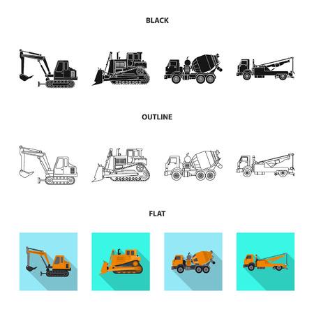 Vektorillustration des Build- und Baulogos. Sammlung von Build- und Maschinenaktiensymbolen für das Web.
