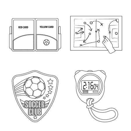 Vector design of soccer and gear symbol. Collection of soccer and tournament stock symbol for web. Vectores