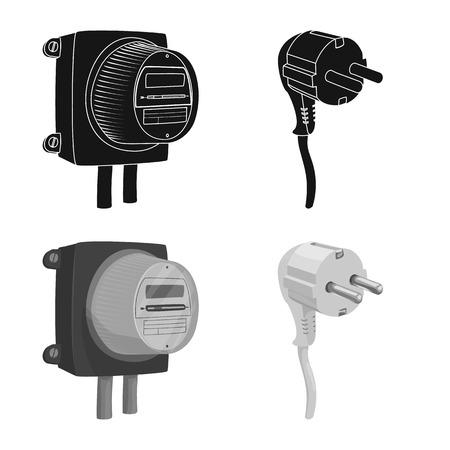 Illustration vectorielle de l'électricité et du logo électrique. Ensemble d'illustration vectorielle stock électricité et énergie.