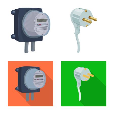 Illustration vectorielle de l'électricité et du logo électrique. Ensemble de symbole boursier d'électricité et d'énergie pour le web.
