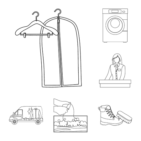 Vector design of laundry and clean logo. Set of laundry and clothes vector icon for stock. Illustration