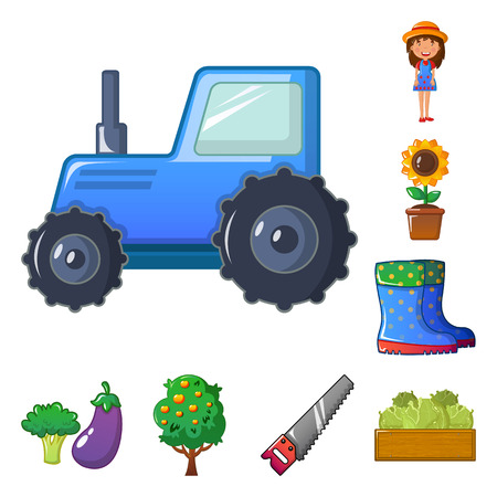 Isolated object of farm and agriculture symbol. Set of farm and plant stock symbol for web.