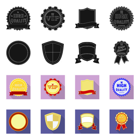 Vector design of emblem and badge sign. Set of emblem and sticker stock symbol for web. Stock Illustratie